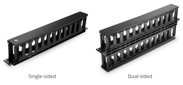 figure 1 single-sided and dual-sided 1u cable managers with finger ducts