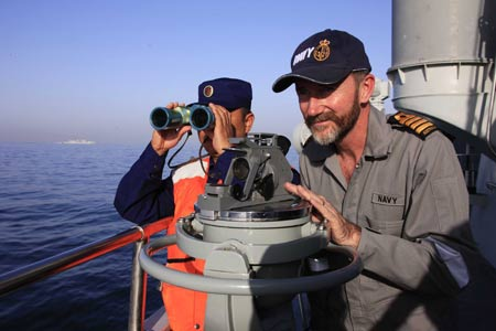 Commander Bond(?) on Chinese Destroyer Guangzhou