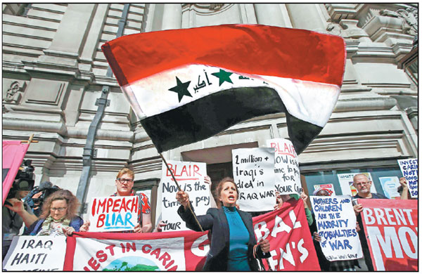 Demonstrators Protest Before The Release Of The John Chilcot Report Into The Iraq War At The