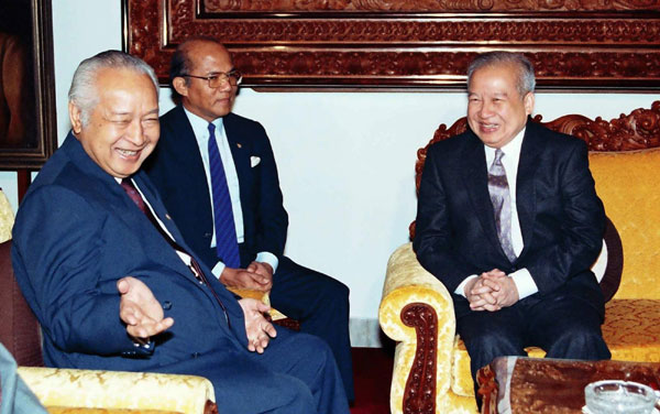 Image result for President Suharto with Cambodia's Norodom Sihanouk