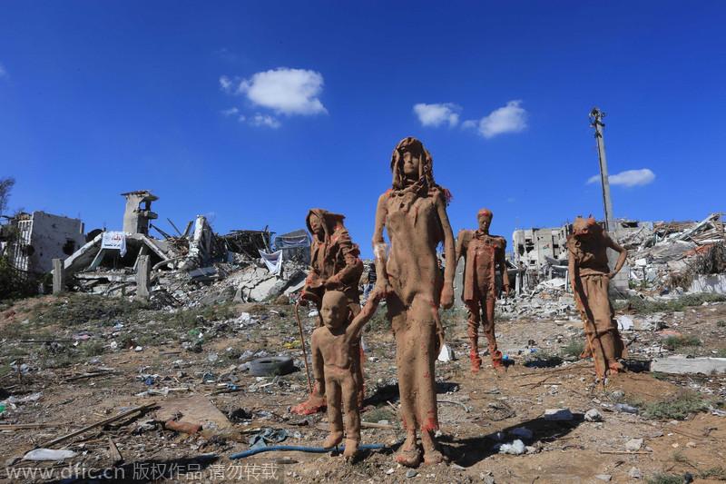 Statues admist ruins