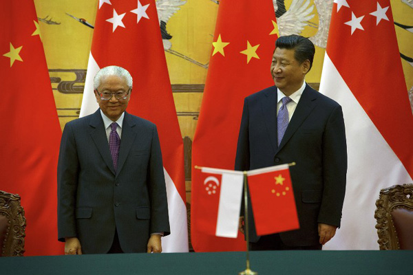 Image result for Xi and Lee of Singapore