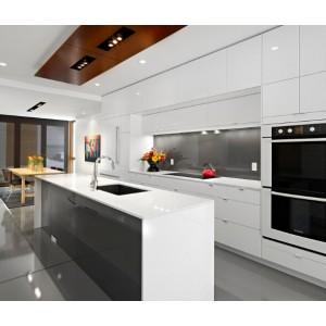Modern High Gloss Kitchen Cabinet With Waterfall Kitchen Island