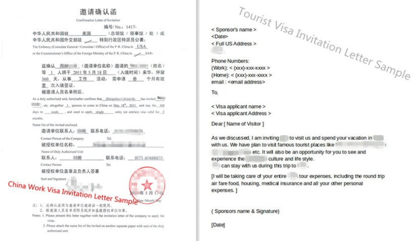 China Tourist And Work Visa Invitation Letter Templates