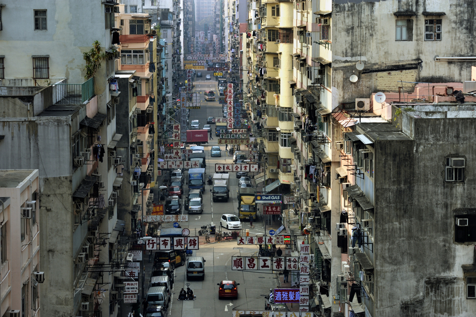 A street scene of the Sham Shui Po district, December 2011.