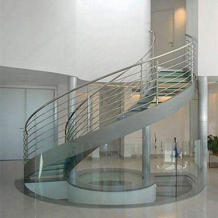 Curved Staircase Curved Stair Demax Arch   Steel Round Staircase Design   Stair Steel Grill   Top Floor Railing   Terraced House   Semi Circular   Circle Stair