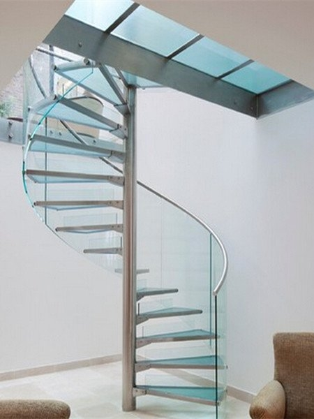 Glass Spiral Staircase Glass Spiral Stair Demax Arch | Spiral Staircase With Glass Railing | Exterior | In India Staircase | Stair Wood Bracket | Glass Insert | Inside Glass