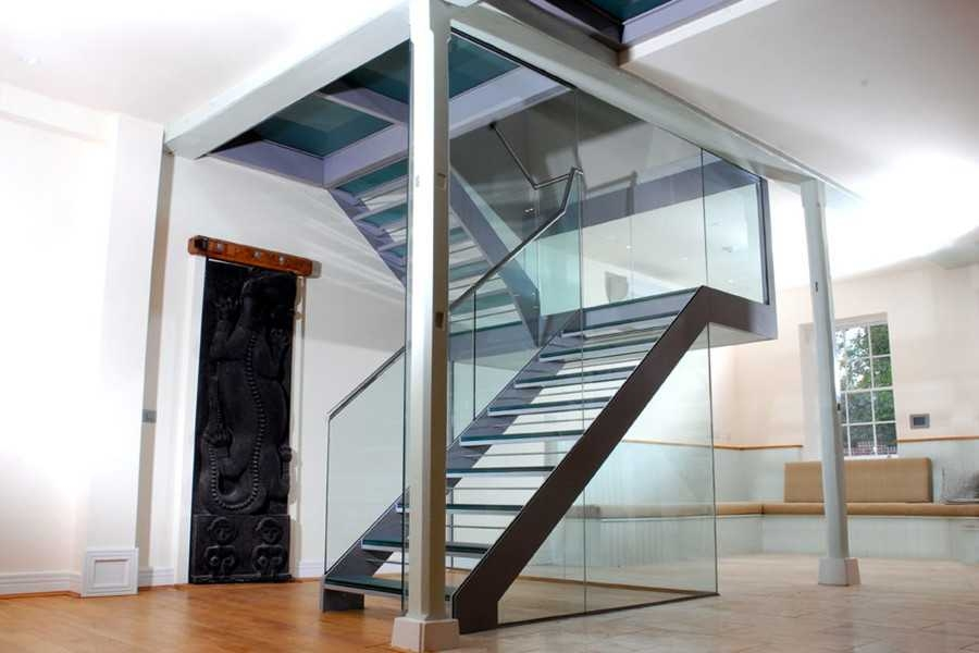 Steel Glass Staircase With Glass Treads Demax Arch   Glass Stair Railing Near Me   Interior   Railing Systems   Stainless Steel   Tempered Glass Panels   Iron