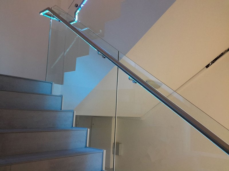 Led Glass Railing For Stairs Demax Arch   Glass Balustrade Stairs Near Me   Railing Systems   Frameless Glass   Deck Railing   Handrails   Metal