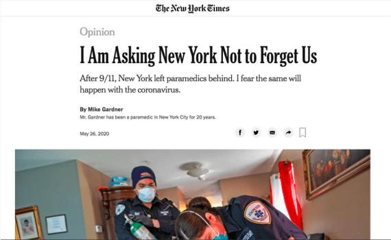 Trabajador médico de Nueva York pide cadenas de suministro estables y protección de ingresos ante pandemia