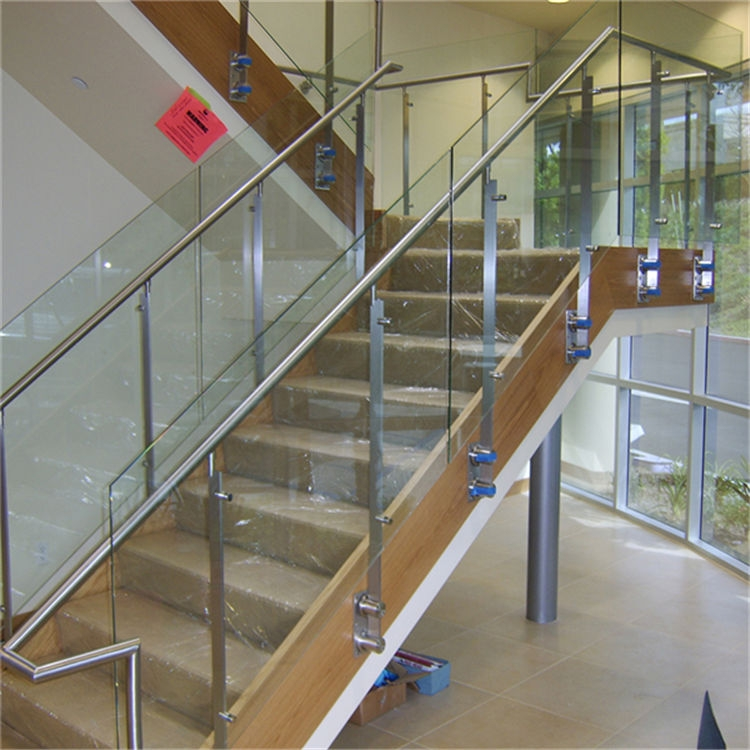 Interior Glass Stair Stainless Steel Balustrade Designs | Staircase Steel Railing Designs With Glass | Glass Panel Wooden Handrail | Modern Style | Stair Glass Void | Curved | Metal