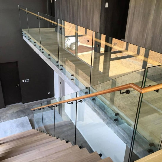 Standoff Glass Railing Of Staircase With Side Handrail   Staircase Side Railing Designs   Luxury Railing   Living Room   Modern Style   Beautiful   Stairway