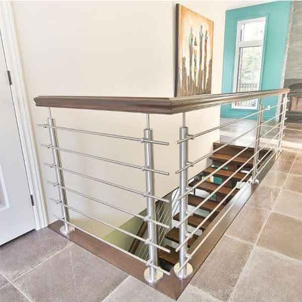 Indoor Different Design Wood Handrail With Stainless Steel Solid   Wood And Steel Handrail   Wood Framed   Interior   Round   Rustic   Glass