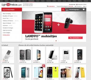 screenshot van de website van lightinthebox
