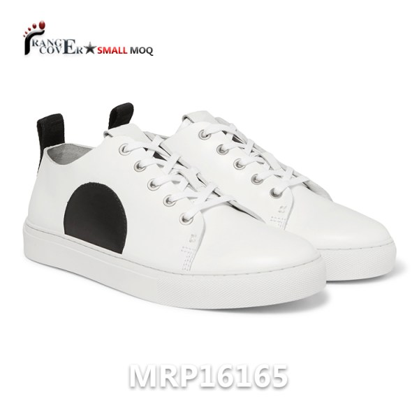 d2b30f340d0a New Design Custom White Shoes is made by white genuine leather. Black  Semicircular Decoration.