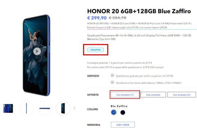 Honor 20 a 299 euro