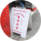 A street sign that says Chinatown Bakery