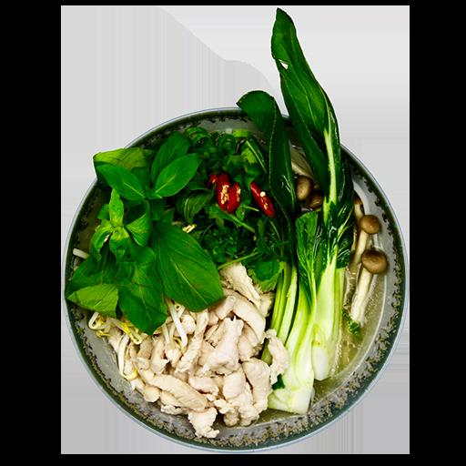 111. Risnudelsuppe - Med kylling, Pak Choy, svampe, forårsløg og koriander