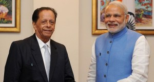 Les Premiers ministres Narendra Modi (Inde) et Anerood Jugnauth (Maurice)