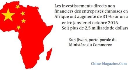 Hausse conséquente des investissements chinois en Afrique