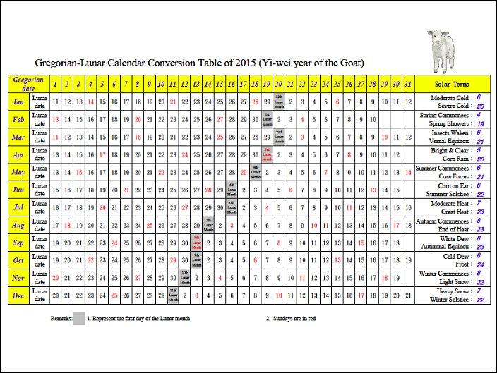 Solar Lunar 2014 Calendar And
