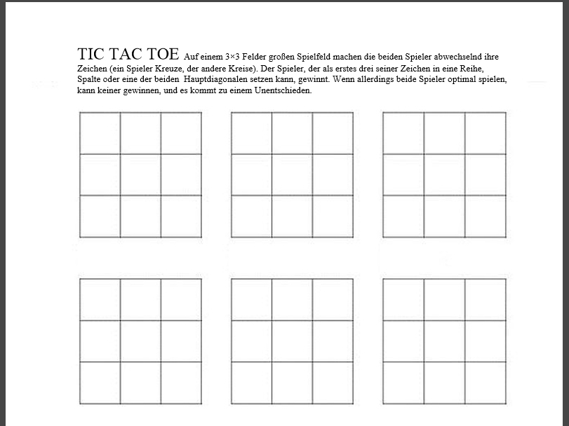 Tic Tac Toe PDF Vorlage Download CHIP