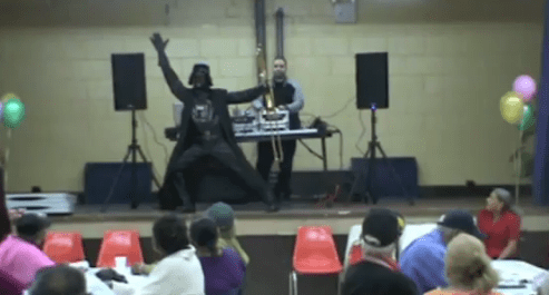 Funny Video: Darth Vader Salsa Trombone Playing and Dancing 1