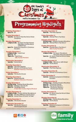 ABC Family's 25 Days of Christmas 2012 Schedule 1