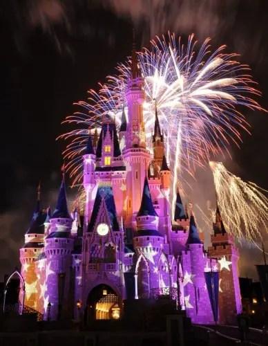 Fireworks in back of Cinderella castle