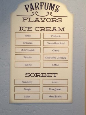 ce cream and sorbet flavors at L'Artisan des Glaces Sorbet and Ice Cream Shop