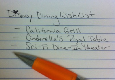 Disney Dining Wish List