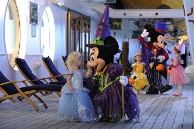 Minnie in her Halloween costume on Disney Cruise