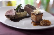 Pork-two-ways-wood-fire-tenderloin-w-goat-chesse-polenta-braised-lacquered-belly-and-country-applesauce-640x426