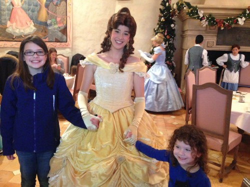 My daughters with Belle at Auberge de Cendrillon.