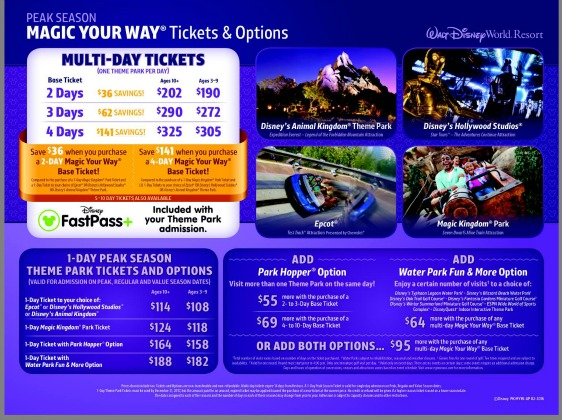 New Disney World Seasonal Pricing And Tiered Ticket