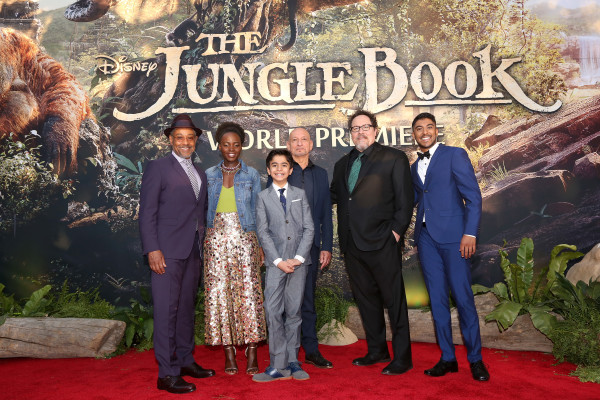 "HOLLYWOOD, CALIFORNIA - APRIL 04: (L-R) Actors Giancarlo Esposito, Lupita Nyong'o, Neel Sethi, Ben Kingsley, director/producer Jon Favreau and actor Ritesh Rajan attend The World Premiere of Disney's ""THE JUNGLE BOOK"" at the El Capitan Theatre on April 4, 2016 in Hollywood, California. (Photo by Jesse Grant/Getty Images for Disney) *** Local Caption *** Neel Sethi; Lupita Nyong'o; Ritesh Rajan; Ben Kingsley; Ritesh Rajan; Jon Favreau"