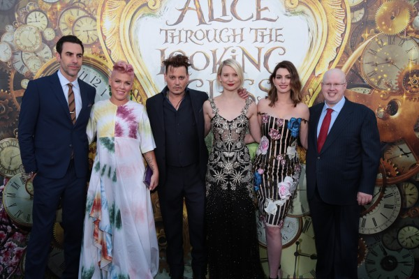 """Sacha Baron Cohen, Pink, Johnny Depp, Mia Wasikowska, Anne Hathaway and Matt Lucas pose together at The US Premiere of Disney's """"Alice Through the Looking Glass"""" at the El Capitan Theater in Los Angeles, CA on Monday, May 23, 2016. .(Photo: Alex J. Berliner/ABImages)"""