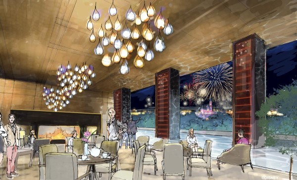 """Concept art of the rooftop restaurant at the proposed new hotel at the Disneyland Resort. The approximately 700 room hotel will be located on 10 acres on what is currently the Downtown Disney parking lot. The proposed hotel would be a AAA """"Four-Diamond"""" hotel. //// ADDITIONAL INFORMATION: Concept art of the proposed new hotel at the Disneyland Resort. The approximately 700 room hotel will be located on 10 acres on what is currently the Downtown Disney parking lot. The proposed hotel would be a AAA """"Four-Diamond"""" hotel. - Date of photo: 06/06/16 - disney.newhotel -- Photo by: COURTESY, THE DISNEYLAND RESORT"""