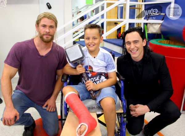 Thor And Loki take a break from filming to visit Children's