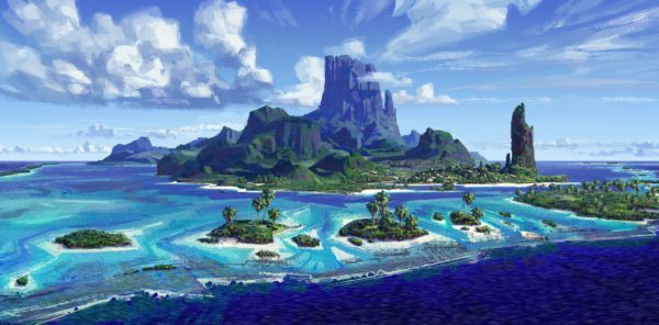 Visual development for the island of Motunui. Artist: Ian Gooding, MOANA Production Designer.
