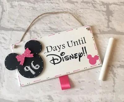Charming Wooden Disney Countdown Mickey Chalkboard Sign 1