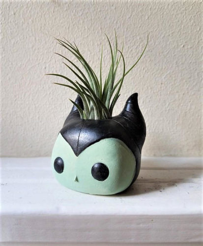 Wickedly Cute Maleficent Inspired Planter with Air Plant 1