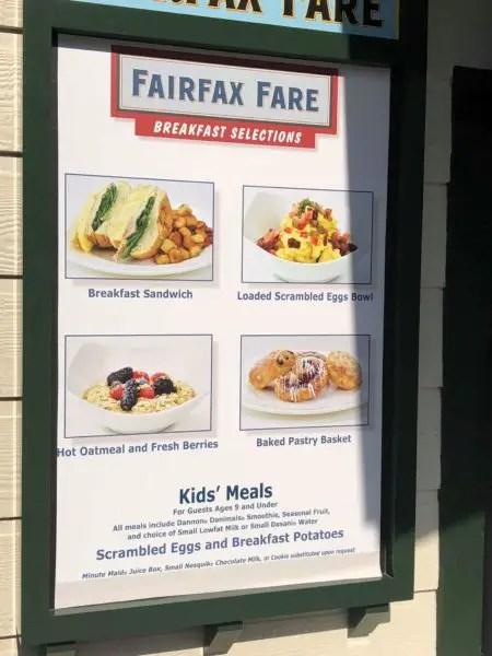 Fairfax Fare Breakfast Menu