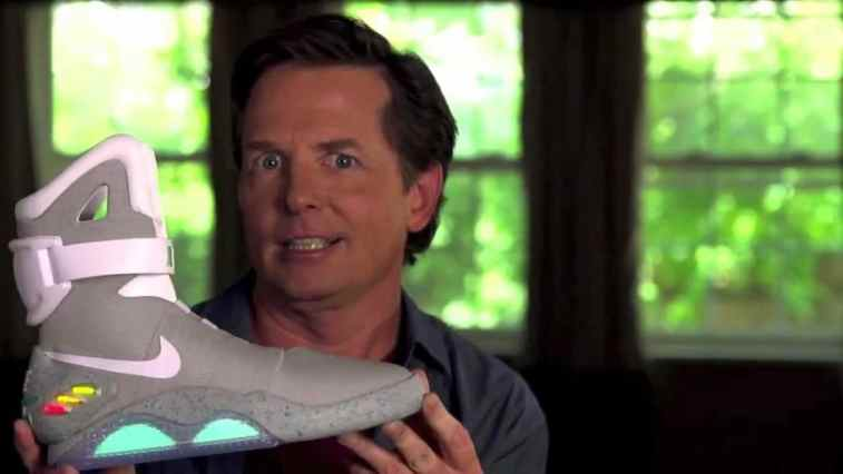 23f79d9707c7 ... Michael J Fox Tries on the First REAL Nike Mags With Power Laces