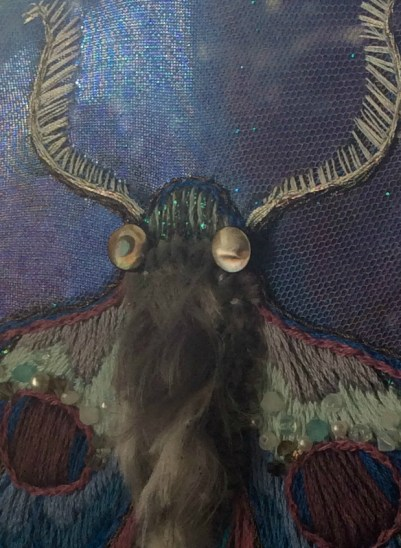 Lunar Moth Embroidery Art by Suzanne Forbes May 2018 eye detail