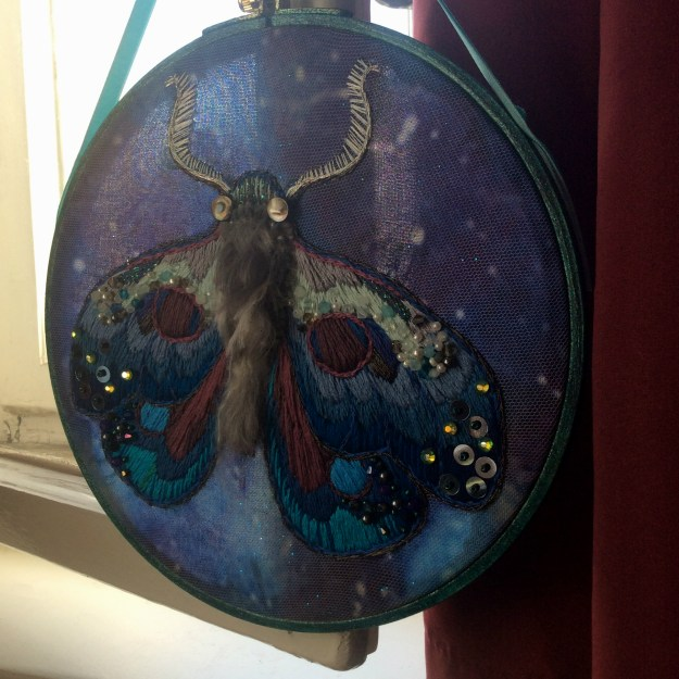 Lunar Moth Embroidery Art by Suzanne Forbes May 2018