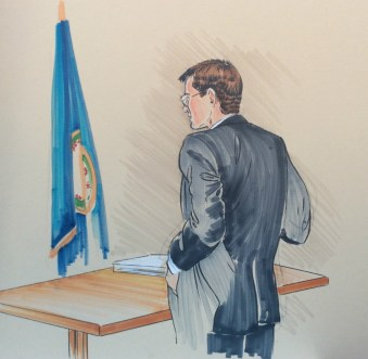 An attorney courtroom drawing by Rachel Ketchum aka Suzanne Forbes approx 1992