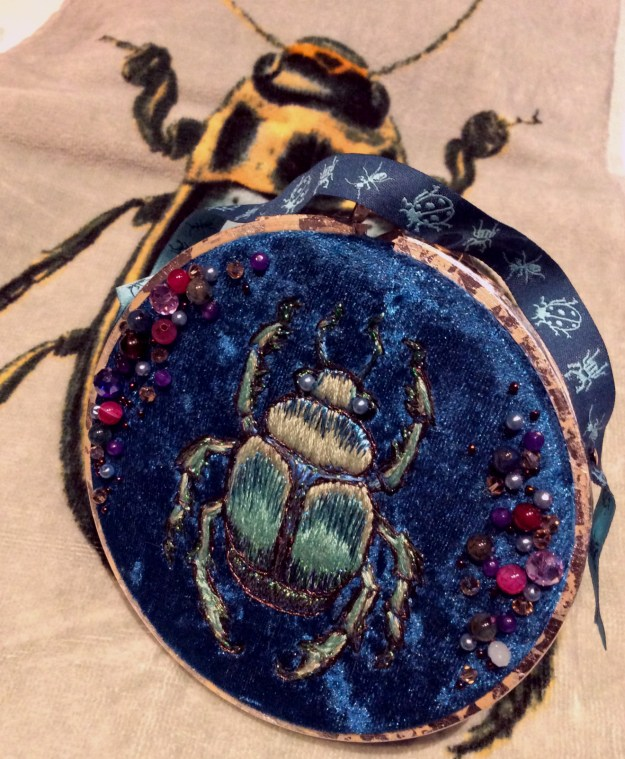 Embroidered beetle by Suzanne Forbes July 2018