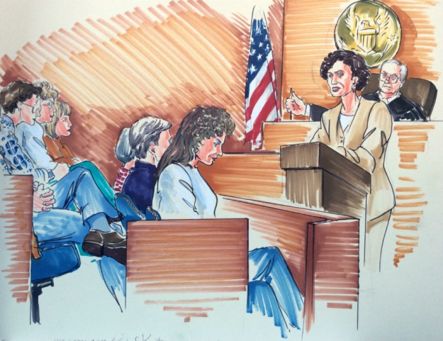 Rachel Ketchum courtroom drawing mid 1990s jury and prosecutor