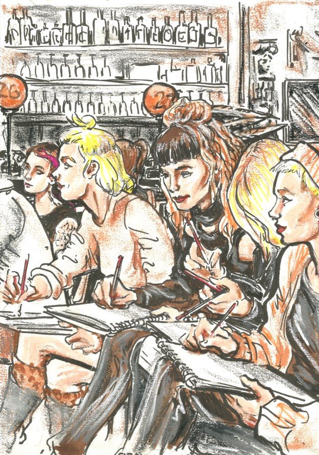Women artists at Dr Sketchys Berlin Sept 27 2018 by Suzanne Forbes
